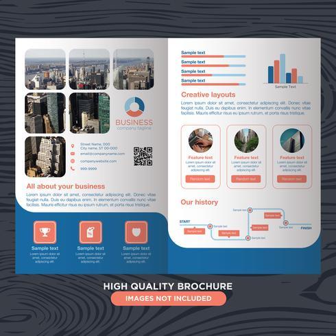 Brochure pieghevole aziendale blu vettore
