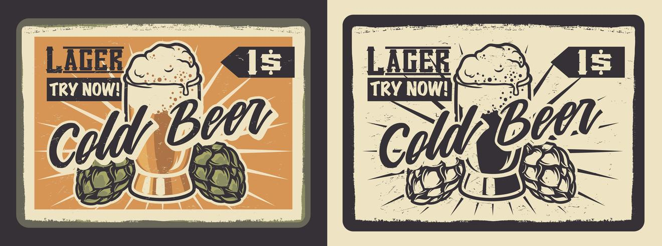 Poster vintage con un bicchiere di birra. vettore