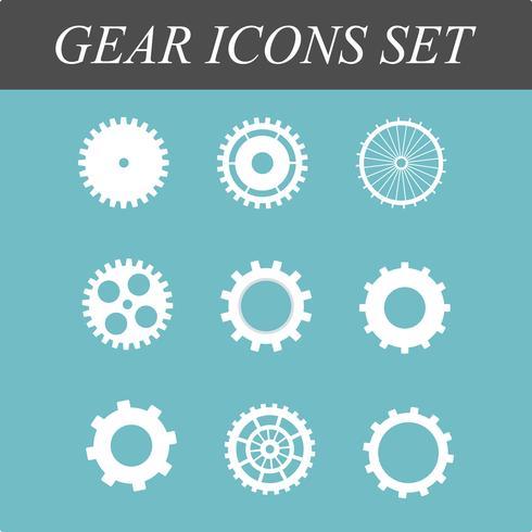 Le icone piane dei denti e degli ingranaggi hanno messo nell'illustrazione di progettazione di massima di vettore su fondo blu isolato