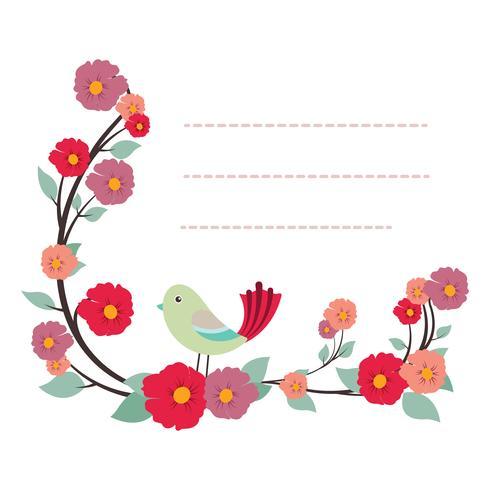 Modello di blocco note adorabile con disegno di uccelli e fiori vettore