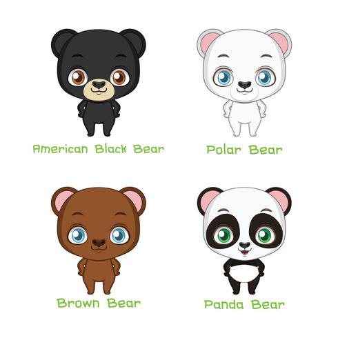 Set di specie di orso vettore