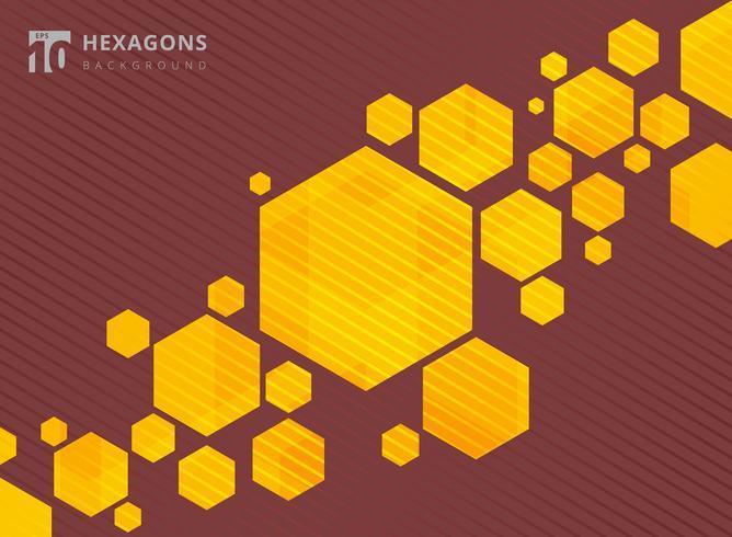 Esagoni geometrici astratti sfondo giallo con linee a strisce marroni. vettore