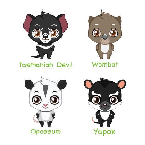 Set di specie animali australiane vettore