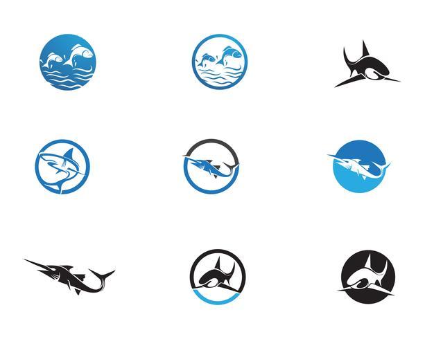Modello di logo di pesce vettore