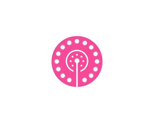 Vettore del modello di vettore di logo del fiore del dente di leone