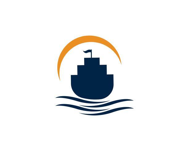 Vettore lineare semplice di logo della siluetta della nave della fodera di crociera dell'oceano