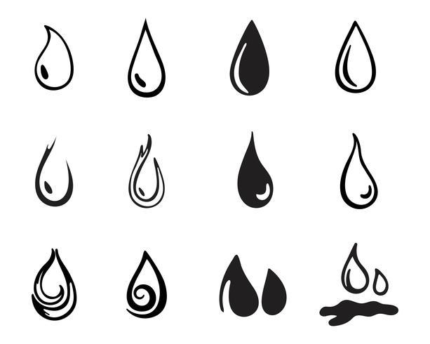 Loghi goccia d'acqua nero n colore vettore
