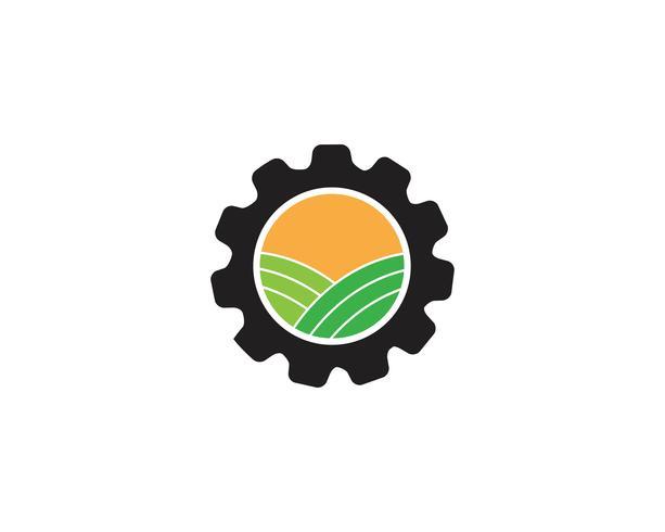 gear logo verde Albero foglia ecologia natura elemento vettore
