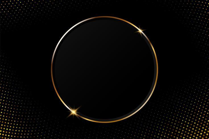 Struttura circolare dorata astratta con luce scintillante su un fondo nero moderno vettore