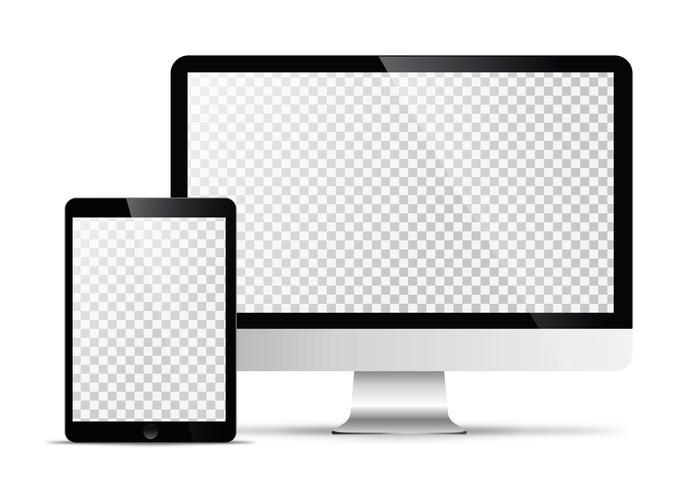 Modello vettoriale elettronico Tecnologia moderna, smartphone, tablet, computer e notebook