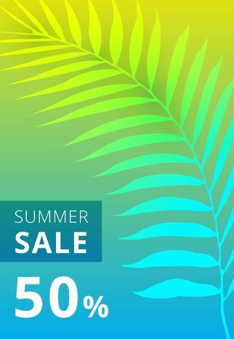 Banner di vendita di estate. foglie di palma sfondo colorato. vettore