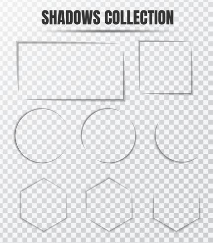 Insieme di vettore di effetto ombra realistico Componenti separati su uno sfondo trasparente