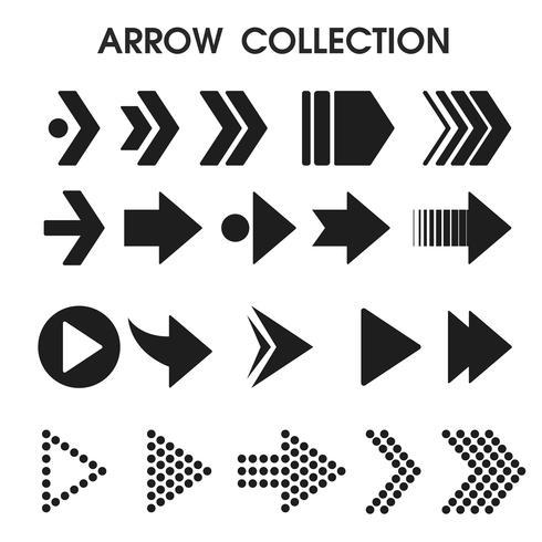 Icone nere della freccia che sembrano semplici e moderne. illustrazione vettoriale. vettore