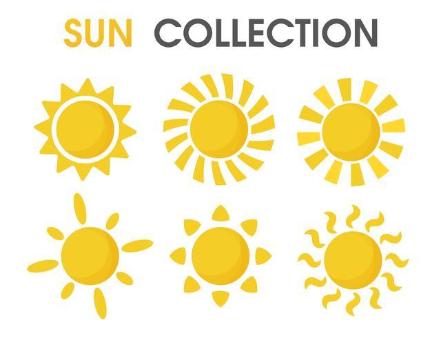 Il sole colorato dei cartoni animati in un formato semplice. vettore