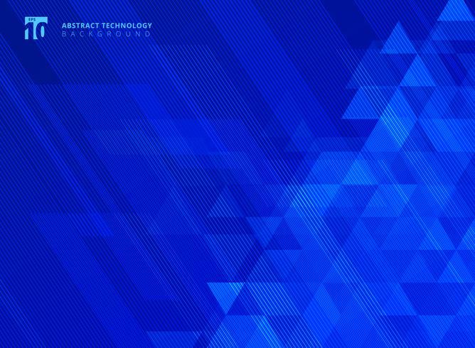 Linee astratte e triangoli modello tecnologia su sfondo blu gradienti. vettore