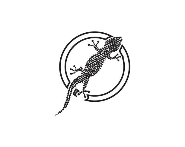 Lizard Chameleon Gecko Silhouette nero vettore