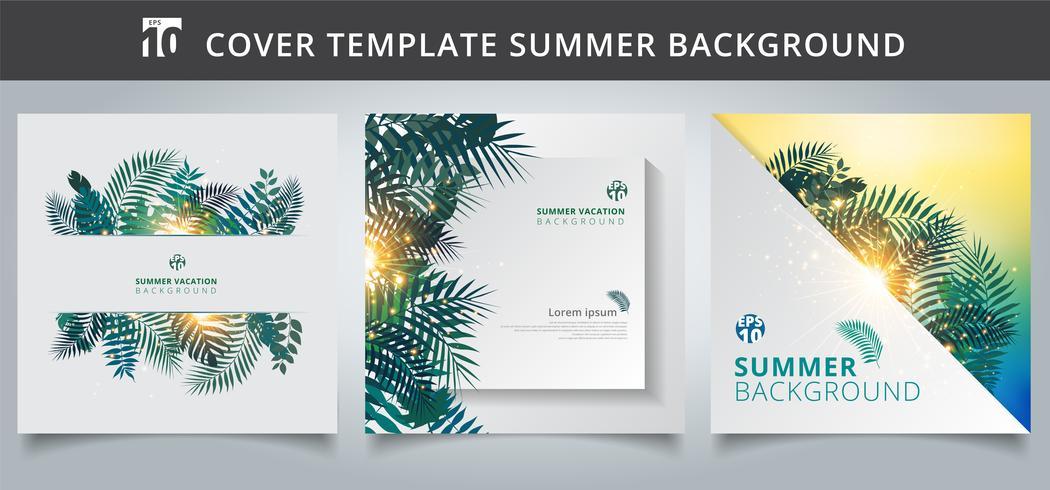 Estate della copertura dell'opuscolo del modello tropicale con le foglie di palma o le piante esotiche e l'effetto della luce sul fondo del Libro Bianco. vettore