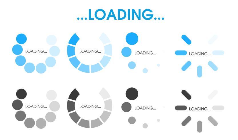 Icona di stato del caricamento È in attesa di elaborare i dati in varie forme vettore