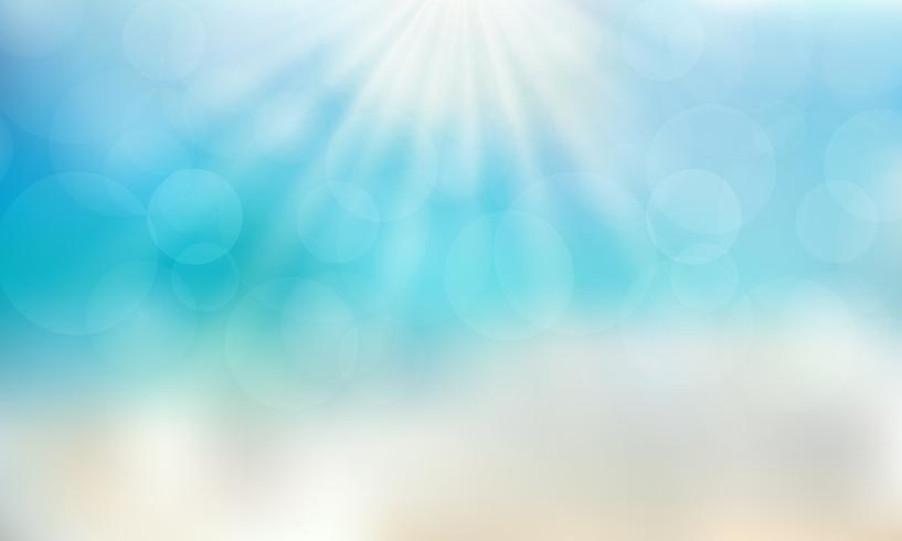 Tempo di stagione estiva sulla spiaggia con il fondo del cielo blu di giorno del sole. vettore