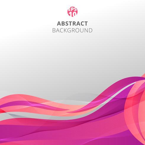 Le onde rosa variopinte astratte con le linee del modello torcono su fondo bianco. vettore