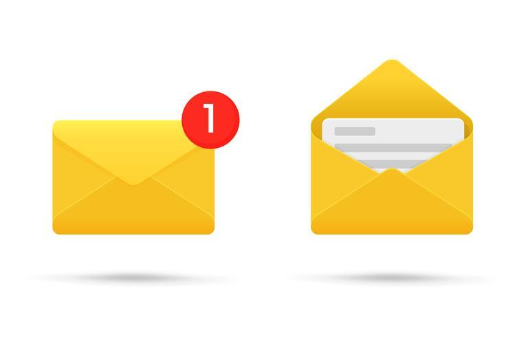 Notifica di simboli o SMS su dispositivi elettronici. Illustrazione vettoriale