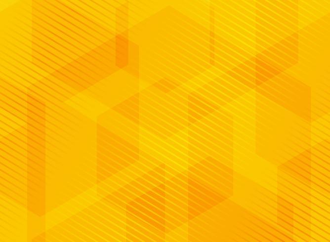 Esagoni geometrici astratti sfondo giallo con linee a strisce. vettore