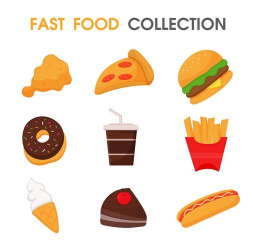Set di cibo spazzatura o fast food. vettore