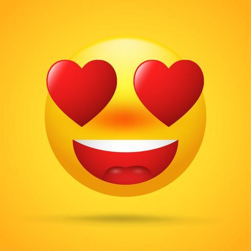 Emoticon di cartone animato con amore a San Valentino. forme di cuore rosso bulbo oculare su sfondo giallo brillante. vettore
