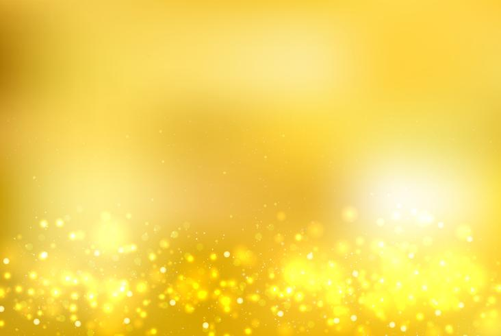 L'oro astratto ha offuscato il fondo con i footer di scintillio dell'oro e del bokeh. vettore