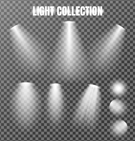 Collezione di luci su sfondo trasparente. vettore