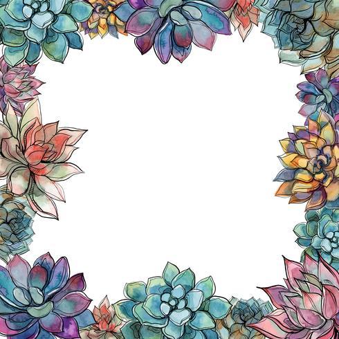 Cornice succulenta. Composizione di fiori Cartolina per il tuo testo Vettore. vettore