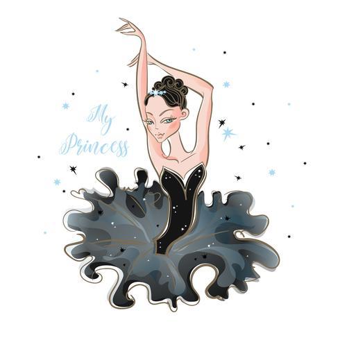 Piccola ballerina Giovane principessa Ragazza in un tutù La mia principessa. Iscrizione. Vettore. vettore