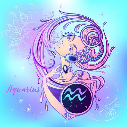 Segno zodiacale Acquario una bella ragazza. Oroscopo. Astrologia. Vettore. vettore