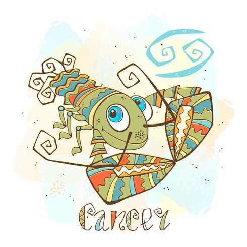 Icona oroscopo per bambini. Zodiac per bambini. Segno di cancro Vettore. Simbolo astrologico come personaggio dei cartoni animati. vettore