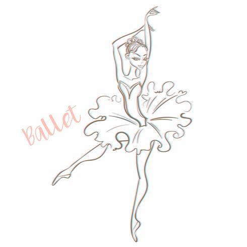 Ragazza ballerina Balletto. Logotype. Ballerino. Illustrazione vettoriale