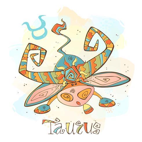 Icona oroscopo per bambini. Zodiac per bambini. Segno del Toro. Vettore. Simbolo astrologico come personaggio dei cartoni animati. vettore