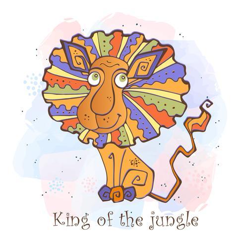 Leone di cartone animato in uno stile carino. re della giungla vettore
