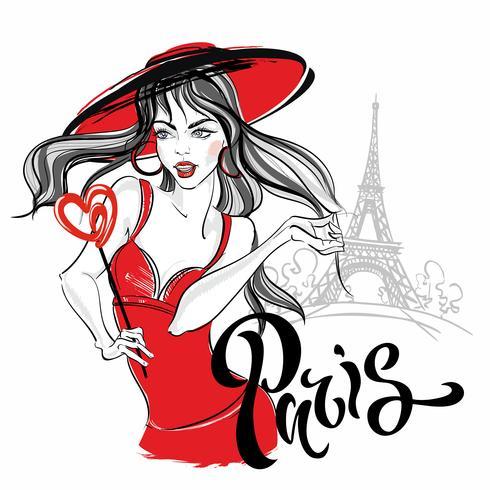 Ragazza modello a Parigi contro la torre Eiffel. Lettering. Vettore