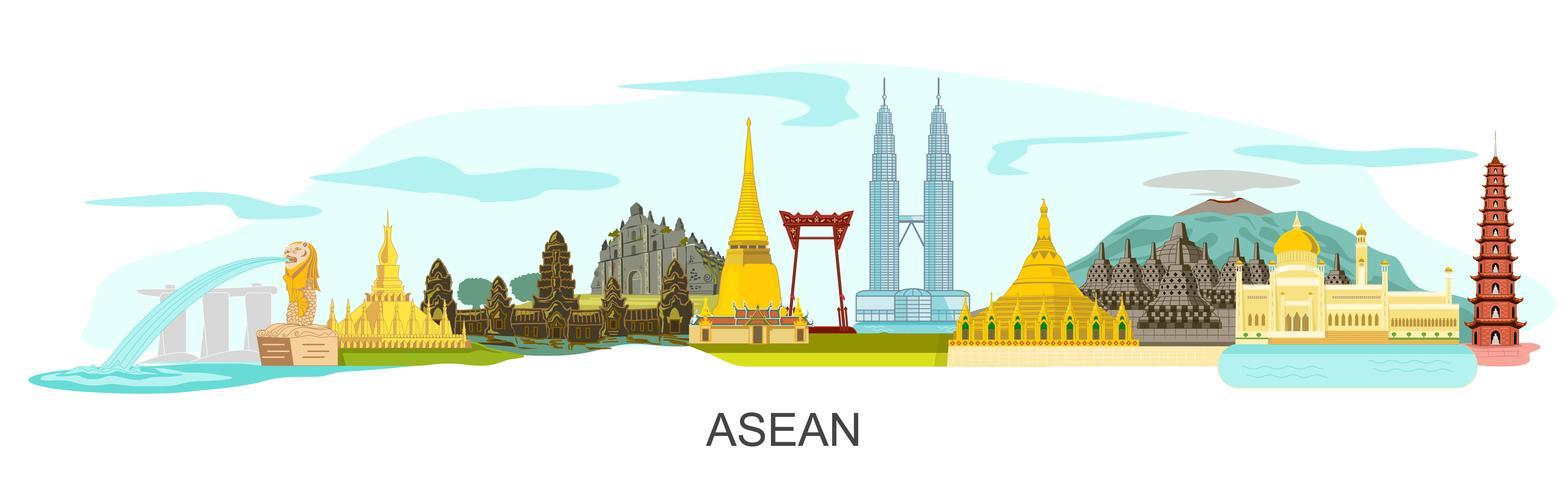 Panorama di edifici di attrazione ASEAN vettore
