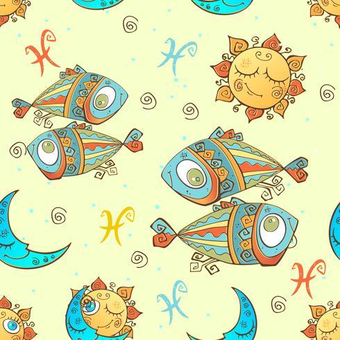 Un divertente modello senza cuciture per bambini. Segno zodiacale Pesci. Vettore. vettore