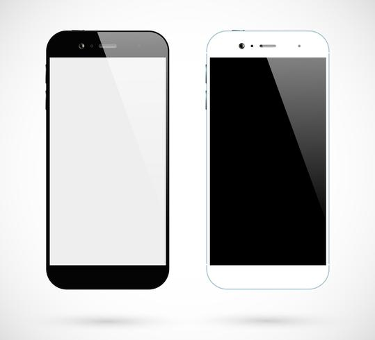 Smartphone isolato. Smartphone in bianco e nero vista frontale. Set di telefoni cellulari vettore