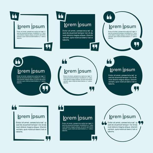 Set di modelli di citazioni. Citare il design minimal della bolla vettore