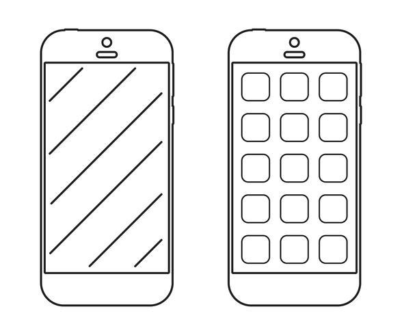 Icona di contorno di smartphone vettore