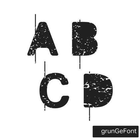 Font grunge alfabeto vettore
