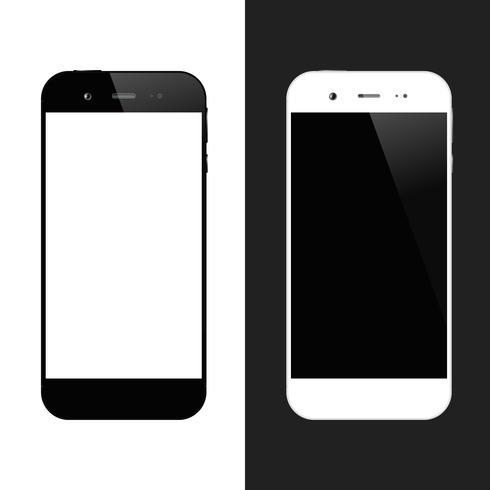 Smartphone bianco nero vettore