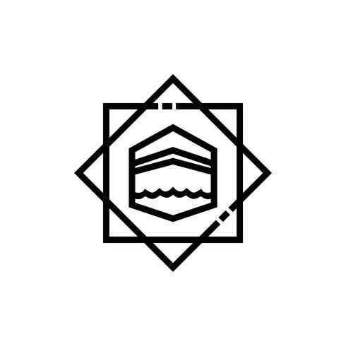 disegno dell'icona linea kaaba vettore