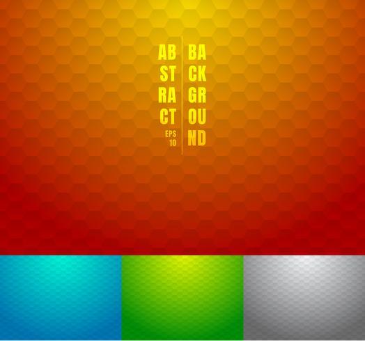Set di astratto rosso, blu, verde, grigio modello esagoni sfondo. Strisce geometriche su colori a gradienti multicolor. vettore