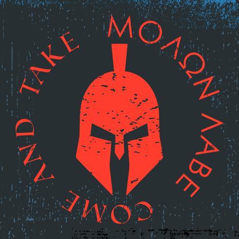 T-shirt design di stampa. Elmetto spartano con lo slogan Molon labe - vieni e prendi. T-shirt con etichetta applique stampabile e badge vettore