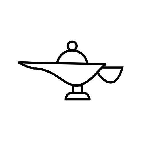 icona della bella linea nera della lampada megical vettore