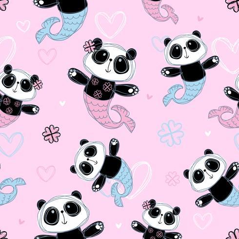 Modello senza soluzione di continuità Sirena di panda carino su sfondo rosa. Vettore